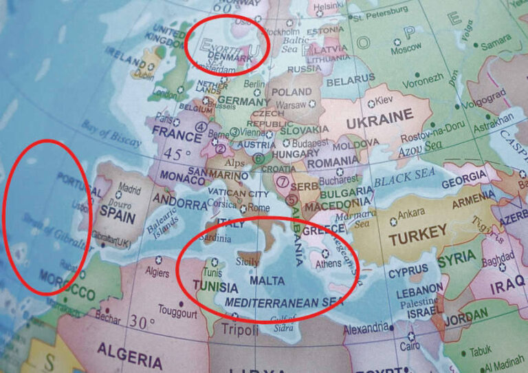 a map of places to the question where does ariel live showing three possible areas: Denmark, the Atlantic and the Mediterranean